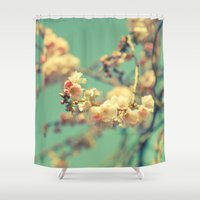 Pink Blue Blossom Shower Curtain