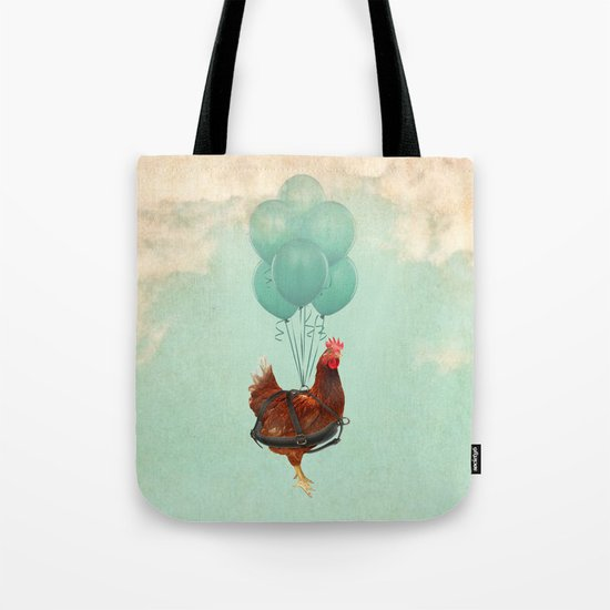 "Chickens can't fly (""The sky is falling!"") Tote Bag"