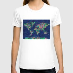 World Map Womens Fitted Tee White SMALL
