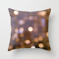 Bokeh Rain Throw Pillow