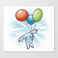 Cute Little Blue Bunny Flying With Balloons Canvas Print