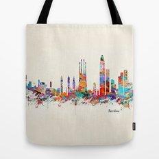 Barcelona watercolor skyline Tote Bag