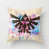 Splash Triforce Emblem Throw Pillow