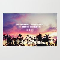 1980's sunset and quote Rug