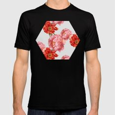 vintage floral SMALL Mens Fitted Tee Black