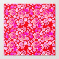 Rosaful rose pattern # Red Canvas Print