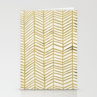 geometric Stationery Cards featuring Gold Herringbone by Cat Coquillette