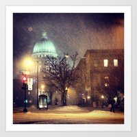 Capitol at Night in Snow Art Print
