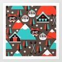 Winter Wonderland retro ski fox Art Print