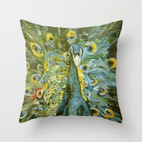 Green Peacock  Throw Pillow