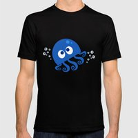 Bubbly Octopus Mens Fitted Tee Black SMALL