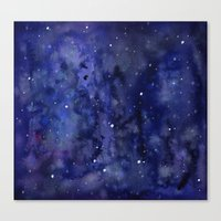 Night Sky Galaxy Stars | Watercolor Space Texture Canvas Print