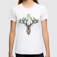 Deer Birds Womens Fitted Tee Ash Grey SMALL