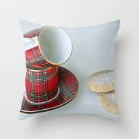 Tartan Coffee Cups & Sco… Throw Pillow