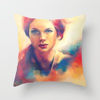 Stood beneath an orange sky. Throw Pillow