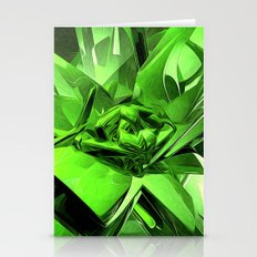 Glowing Green Abstract Stationery Cards