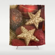 Christmas Red And Gold Shower Curtain
