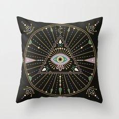 Evil Eye Mandala – Black Throw Pillow