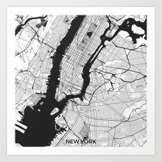 New York Map Gray Art Print