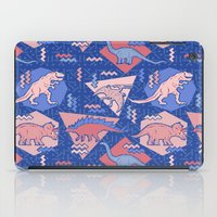 Nineties Dinosaurs Pattern  - Rose Quartz and Serenity version iPad Case