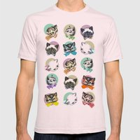 Cats & Bowties Mens Fitted Tee Light Pink SMALL