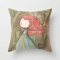 Merida in the forest Throw Pillow