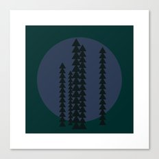 #429 Mountain trees at night – Geometry Daily Canvas Print