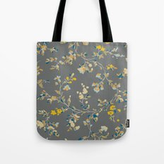 vintage floral vines - greys & mustard Tote Bag