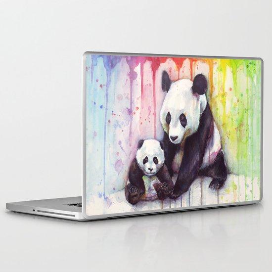 Pandas and Rainbow Watercolor Laptop & iPad Skin