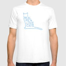 Real Men Love Cats Watercolor Blue Mens Fitted Tee White SMALL