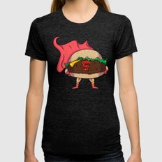Hamburger Heroes Womens Fitted Tee Tri-Black SMALL