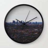 Los Angeles in fog Wall Clock