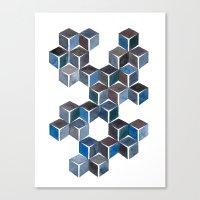 Monochromatic Dark Cubes Canvas Print