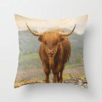Highland Moo Throw Pillow