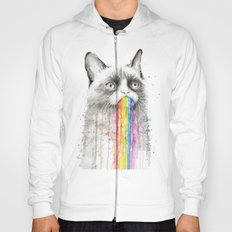 Grumpy Rainbow Cat Watercolor Hoody