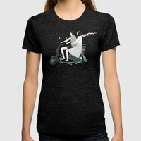 Couple On Scooter Womens Fitted Tee Tri-Black SMALL