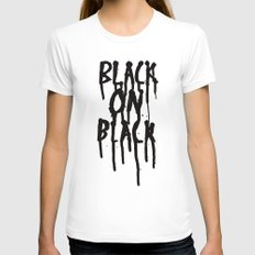 Black on black Womens Fitted Tee White SMALL