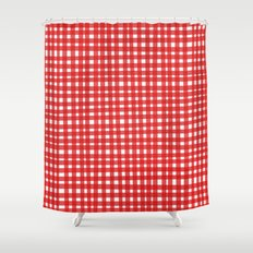 Red Gingham Shower Curtain