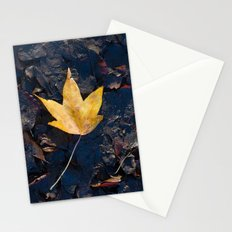 Yellow fallen leaf Stationery Cards