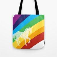 Unicorn on rainbow art Tote Bag