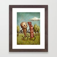 Bacon Loves Ice Cream Framed Art Print