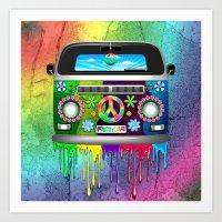 Hippie Van Dripping Rain… Art Print