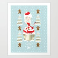 Merry Lady Christmas Cupcake Art Print
