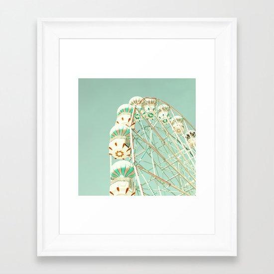 Soft Aqua Ferris Wheel  Framed Art Print