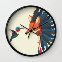 Painted Indian Fox and Hummingbird Wall Clock