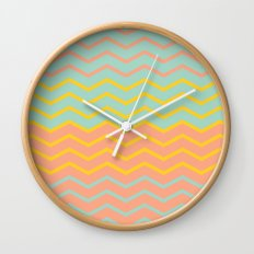 Colorful Chevron on Peach and Mint Wall Clock