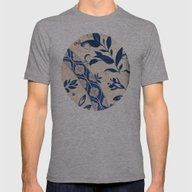 Blue Oriental Vintage Pa… Mens Fitted Tee Athletic Grey SMALL