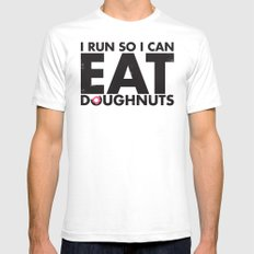 Run to Eat Doughnuts Mens Fitted Tee SMALL White