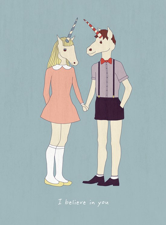 Our love is unique, we are Unicorns (text version) Art Print