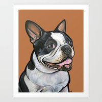 Snoopy the Boston Terrier Art Print